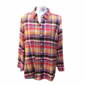 Coldwater Creek Plaid Flannel Shirt